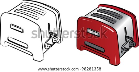 Nice and useful bread toaster, vector - stock vector