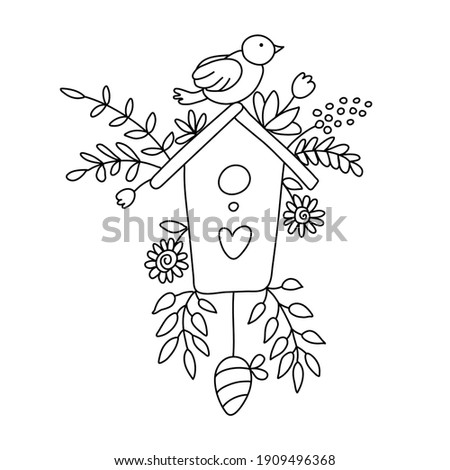 Nice birdhouse decorated with spring branches, flowers and a bird on it in doodle style. Isolated outline. Hand drawn vector illustration on white.  Great for Easter greeting cards, coloring books. ストックフォト ©