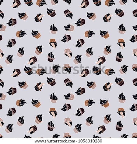 Nice birthday pattern on neutral, black, white, brown and gray. Seamless of hand drawn vintage cute cupcakes and muffins. Cupcake pattern. Vector illustration. #1056310280