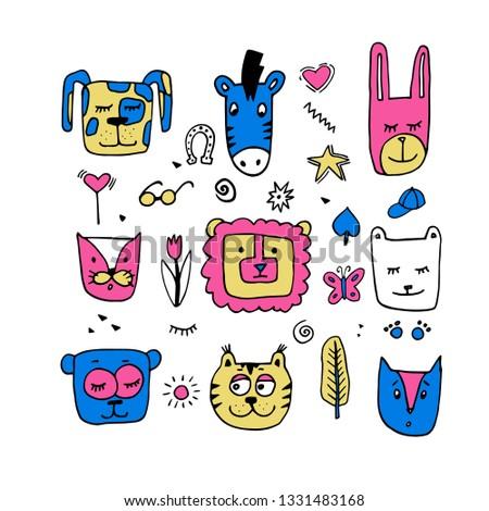 Nice cartoon character animal faces of animals. Cat face,zebra face, rabbit face, lion face,bear face,cat face.