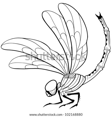 Nice decorative curved dragonfly line  tattoo. Cool for tattoos and t-shirts or logos.
