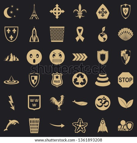 Nice emblem icons set. Simple style of 36 nice emblem vector icons for web for any design