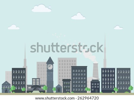nice flat cityscape with houses