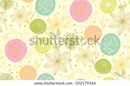 Nice floral seamless pattern made of stylish items - stock vector