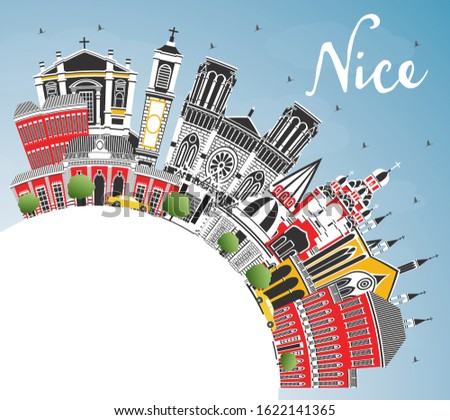 Nice France City Skyline with Color Buildings, Blue Sky and Copy Space. Vector Illustration. Business Travel and Concept with Historic Architecture. Nice Cityscape with Landmarks.