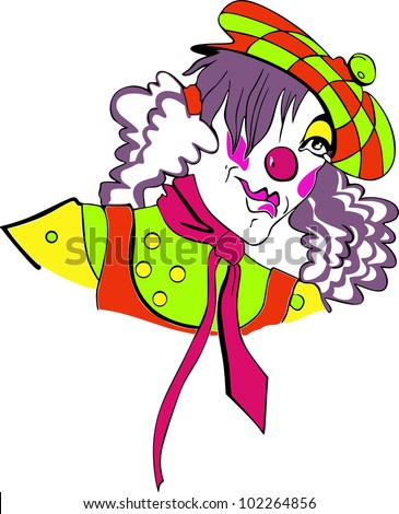 Nice funny clown girl. Color vector illustration - stock vector