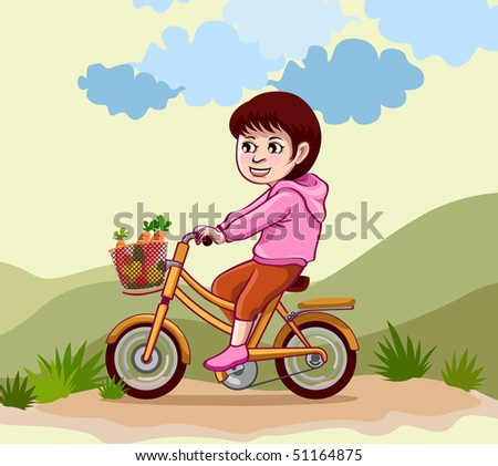 bicycle. cycle. girl. illustration