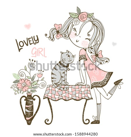 nice girl with a cat  vector