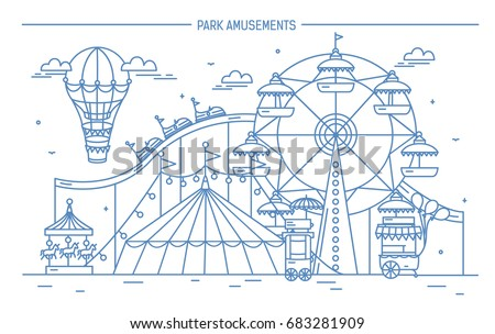 Nice horizontal banner of amusement park. Circus, ferris wheel, attractions, side view with aerostat in air. Contour line art vector illustration
