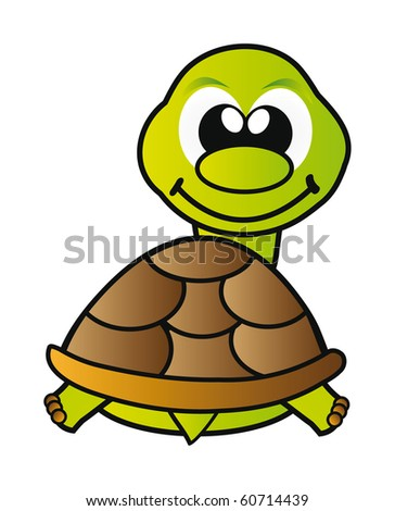 nice illustration - green young turtle isolated on white background