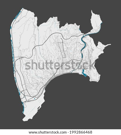 Nice map. Detailed map of Nice city administrative area. Cityscape panorama. Royalty free vector illustration. Outline map with highways, streets, rivers. Tourist decorative street map.
