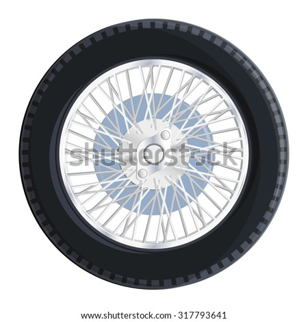 Nice old retro wheel with spokes for old car bugatti - Vector illustration - Component for web icon, commercial symbol.