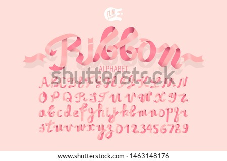 Nice Pink 3D Alphabet. Women's Day Font. Ribbon ABC Set