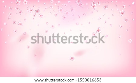 Nice Sakura Blossom Isolated Vector. Pastel Blowing 3d Petals Wedding Frame. Japanese Nature Flowers Illustration. Valentine, Mother's Day Tender Nice Sakura Blossom Isolated on Rose