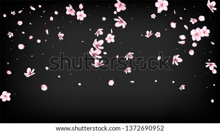Nice Sakura Blossom Isolated Vector. Pastel Blowing 3d Petals Wedding Paper. Japanese Blooming Flowers Wallpaper. Valentine, Mother's Day Summer Nice Sakura Blossom Isolated on Black