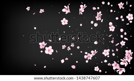 Nice Sakura Blossom Isolated Vector. Pastel Flying 3d Petals Wedding Paper. Japanese Funky Flowers Illustration. Valentine, Mother's Day Magic Nice Sakura Blossom Isolated on Black