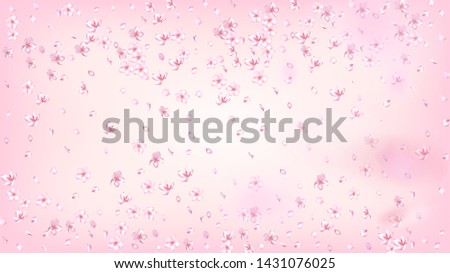 Nice Sakura Blossom Isolated Vector. Watercolor Falling 3d Petals Wedding Pattern. Japanese Funky Flowers Illustration. Valentine, Mother's Day Magic Nice Sakura Blossom Isolated on Rose