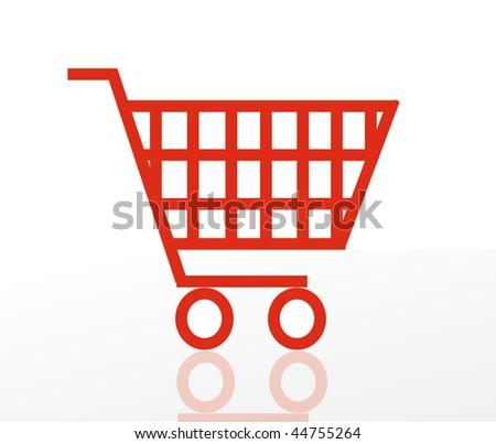 nice vector illustration of shoping cart isolated on white background. Icon shopping basket.