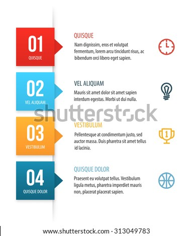 Nice vector numbered list template with colorful squares. Clean white background with copy spaces for your text, icons and headers.