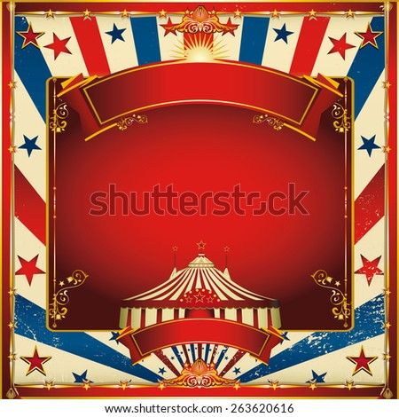 Nice vintage circus background with big top. A circus vintage square greeting card for your entertainment