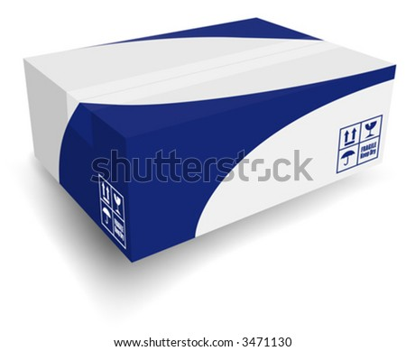 "Nice white shipping box with icons and blue graphic. Layered files for easy edit. Can ""turn off"" blue graphic layer and use only white box."