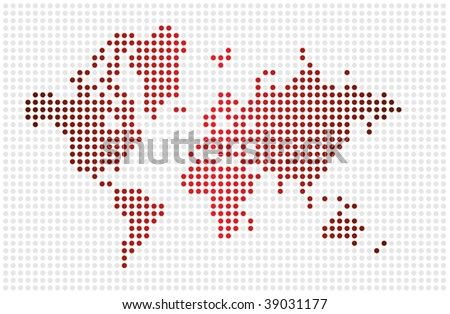 Nice world map textured with dots