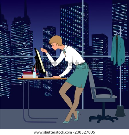 Nice young woman work in office at night. There are table, computer, armchair and great window. Very nice  view from window to skyscrapers and night sky.