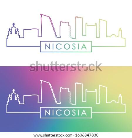 Nicosia skyline. Colorful linear style. Editable vector file.
