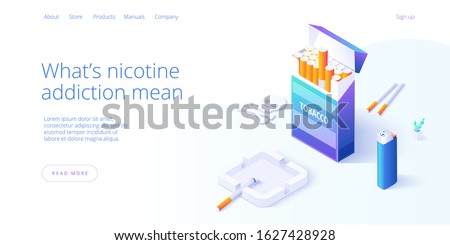 Nicotine dependence or smoking addiction illustration in isometric vector design. Cigarette package woth ashtray and lighter as concept for tobacco addict or smoker. Web banner layout template.  Stock foto ©