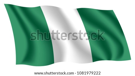 Nigeria flag. Isolated national flag of Nigeria. Waving flag of the Federal Republic of Nigeria. Fluttering textile nigerian flag.