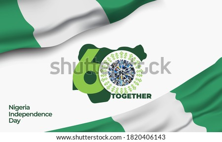 """Nigeria Independence Day. The 60th logo with the Glory diamond. The Logo meaning """"Together shall we be, bring the Nigerian people to be greatness, with warmth, spirit and love"""".  Vector illustration."""