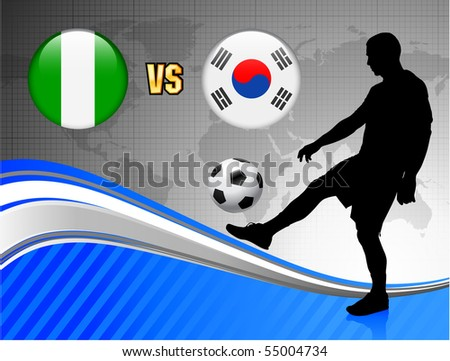 Nigeria versus South Korea on Blue Abstract World Map Background Original Illustration