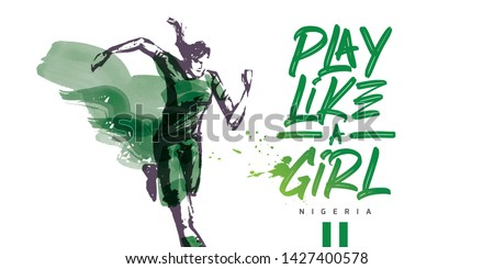 Nigeria Women's Soccer National Team Vector Design. Female Player Running. Typographic Layout. Lettering Sport Logo. Foto stock ©