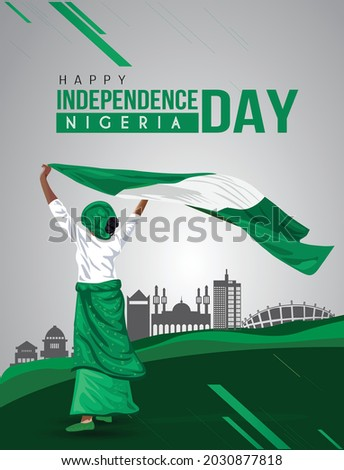 Nigerian Girl waving flag her hands. 1st october Happy Independence day celebration concept. can be used as poster or banner design. vector illustration.