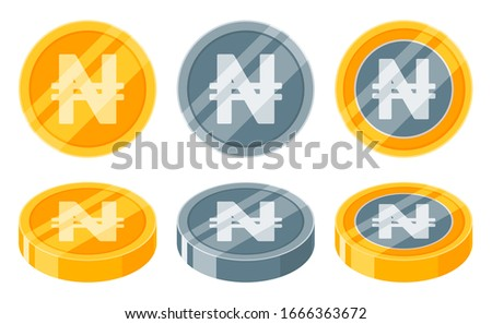 Nigerian Naira Coin Golden and Silver or Metallic Coin icon vector Logo illustration design. Nigeria Currency, Payment and Finance element. Can be used for web, mobile, infographic, and print.