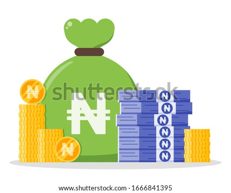 Nigerian Naira money bundle and coin stack sack bag vector icon logo and design. Nigeria Currency business, payment and finance element. Can be used for web, mobile, infographic & print.