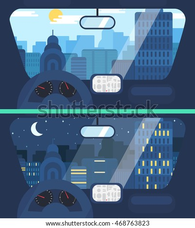 night and day city life concept