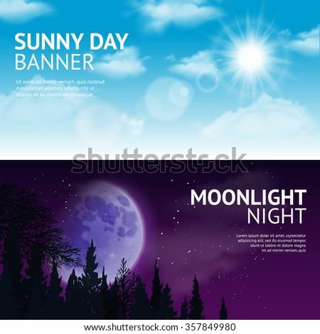 night and day horizontal banner