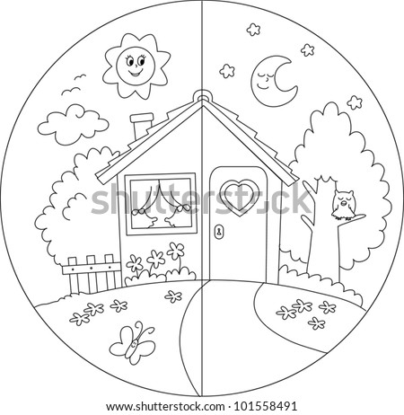 Night And Day View Of A Cartoon Country House. Coloring ...