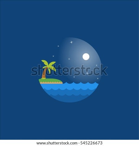 night at sea vector eps