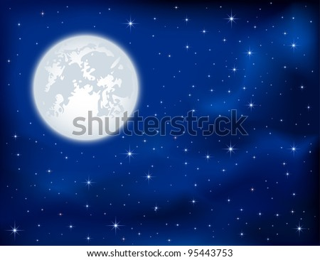 Night background, shining Stars and Moon on dark blue sky, illustration