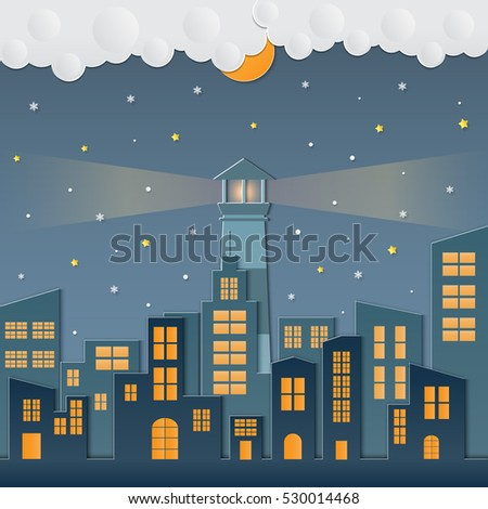 night background with cityscape