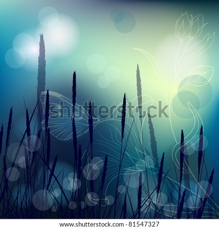 night background with reeds and