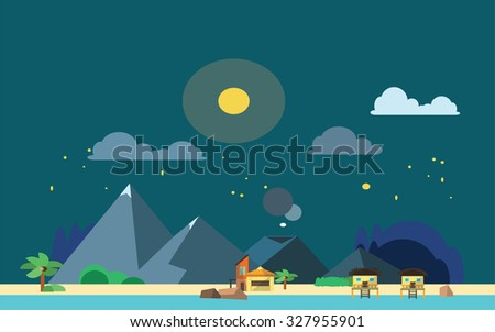 night beach view flat color