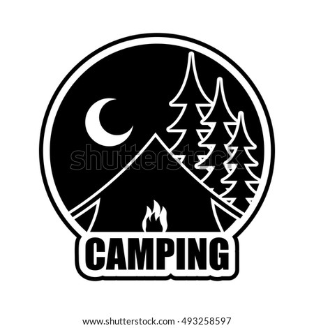 night camping logo emblem for