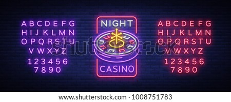 Night casino logo in neon style. Roulette Neon sign, luminous banner, night billboard, bright advertisement of casinos, gaming machines and gambling. Vector illustration. Editing text neon sign