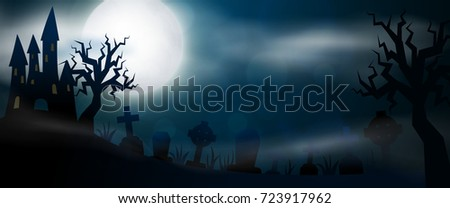 Night cemetery, crosses, tombstones and graves horizontal banner. Colorful scary Halloween illustration. Vector #723917962