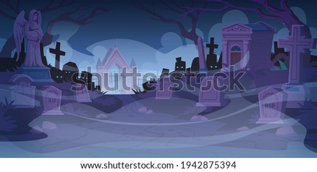 night cemetery  graveyard with