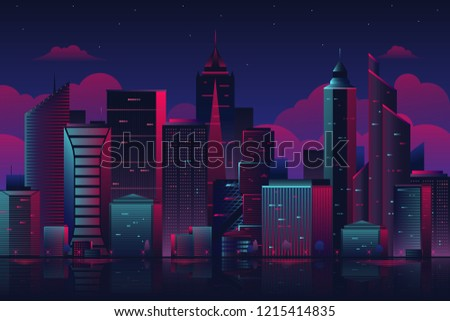 night city cityscape on a dark