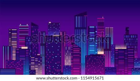 Night city. Colorful new york urban background. Modern cityscape panorama vector illustration. City urban skyline, architecture downtown skyscraper illuminated